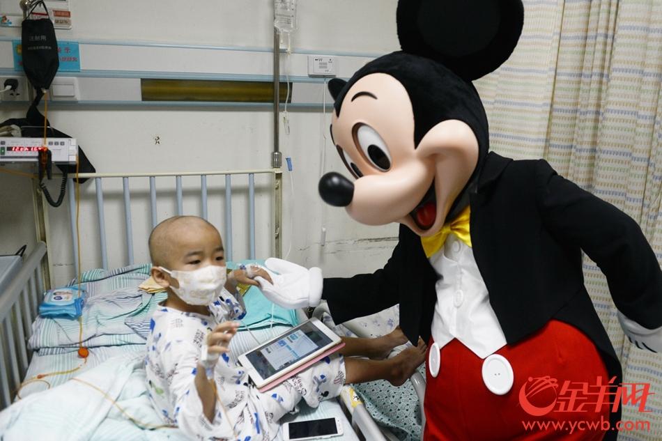 米老鼠探访在广州市妇儿医疗中心住院治疗的孩子们,并送上礼物与他们合影留念。 记者 周巍 摄 金羊网记者 符畅 通讯员 周密 宝宝刚才见到谁了呀?米奇!我还和他握了手。小朋友扑闪着大眼睛,一边摸着手里的米奇玩偶,一边害羞地回答道。6月9号上午,这一幕发生在广州市妇女儿童医疗中心珠江新城院区住院部14楼血液肿瘤科的病房里。当天,广东省首家迪士尼欢乐屋正式落户广州市妇儿中心,迪士尼米奇大明星走进病区探访患儿,为他们加油打气。