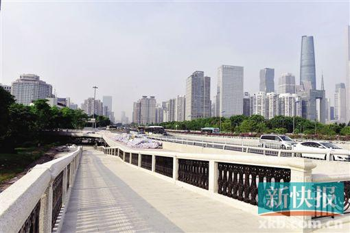 二沙岛西往南方向上桥匝道也同步开放通行,车辆从二沙岛进入广州大道