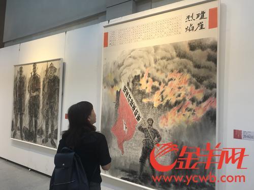 """琼粤艺术家眼中不同的""""椰子寨战斗印象""""亮相珠江边"""