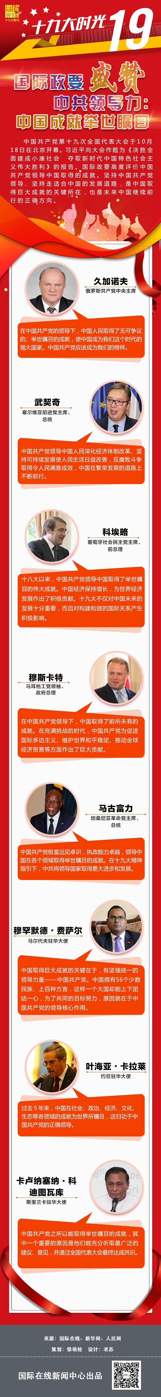 【十九大时光】国际政要盛赞中共领导力:中国成就举世瞩目