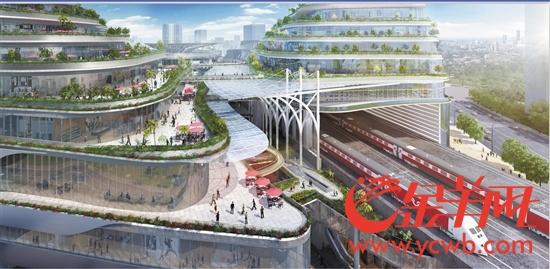 从ITC(凯达尔枢纽国际广场)穿行而过的城际轨道图示