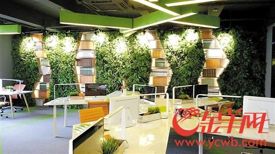 羊城同创汇微改造后的办公空间呈现出绿色、生态的特色