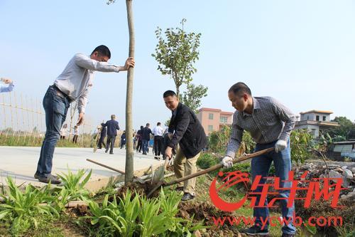 312植树节 南沙不少市民沐浴春风栽种树苗