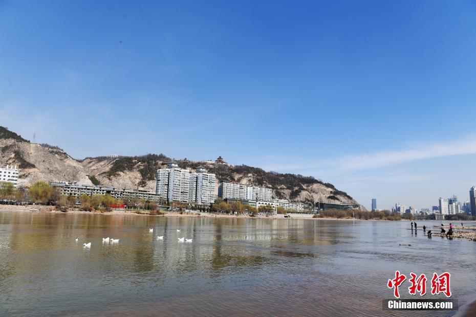 三月黄河兰州段河水清澈见底 水天一色