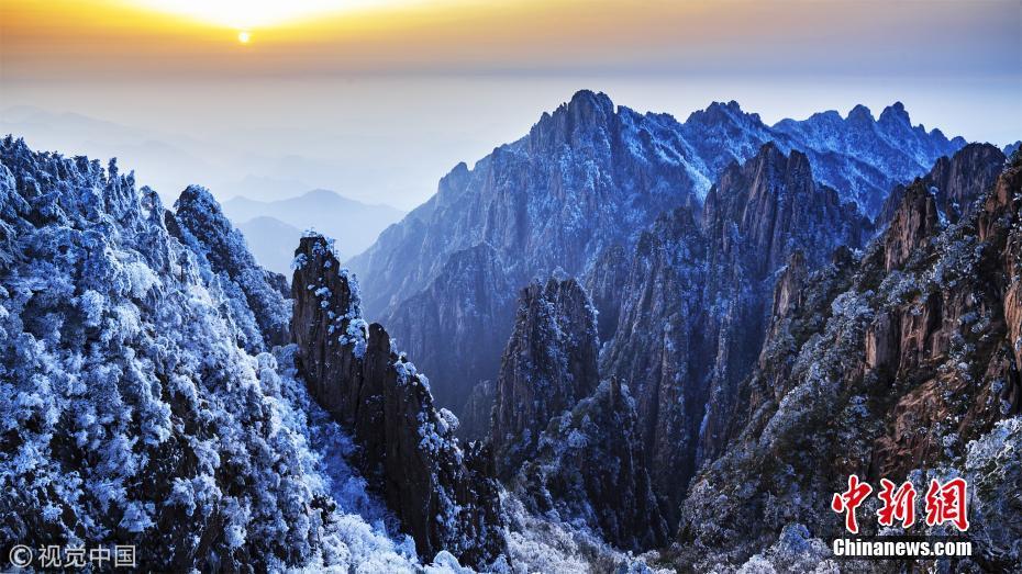 安徽黄山现春雪、雾淞、云海气象景观
