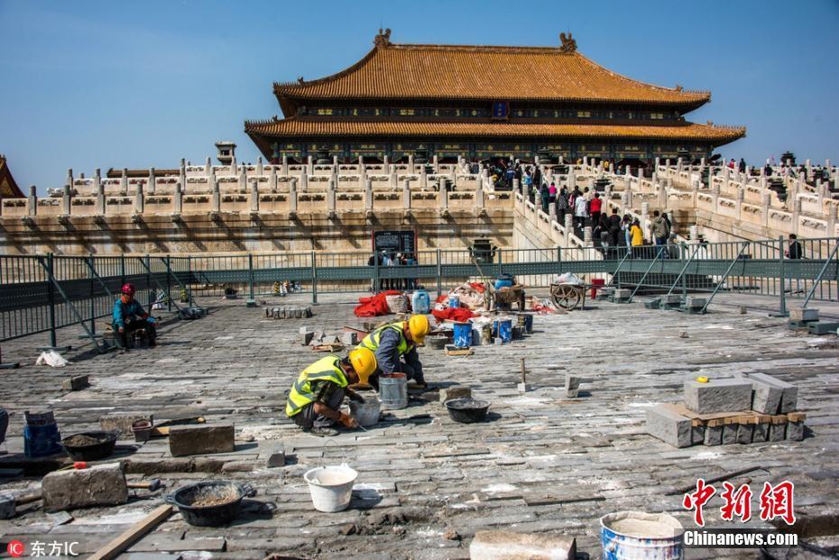"""北京故宫修缮进行时 开始对破损地面动""""手术"""""""