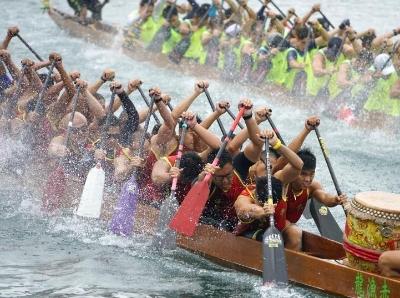香港举行龙舟竞渡大赛庆祝端午节