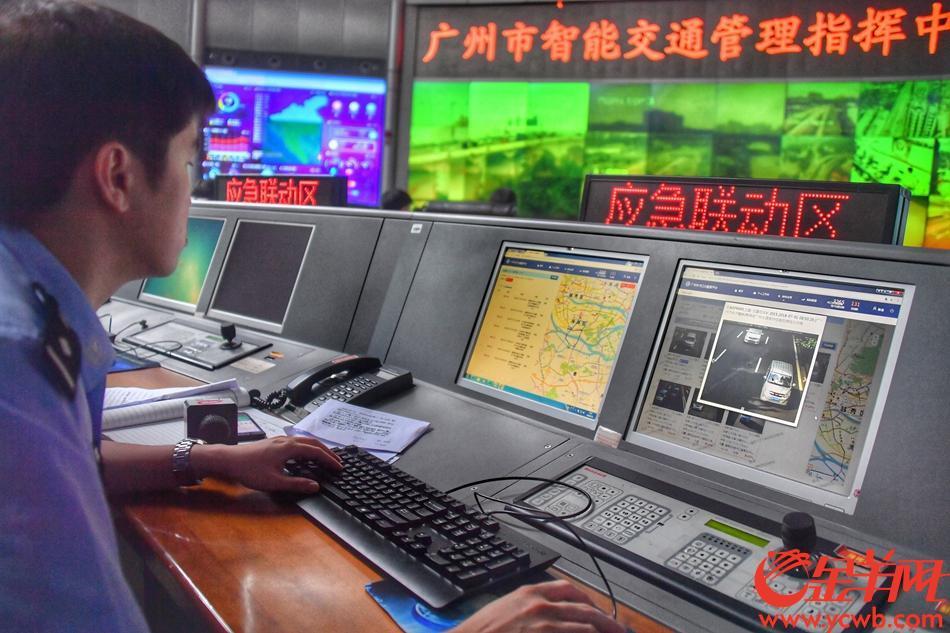 2018年7月1日,开四停四正式实行,第一个月为执法过渡期。广州交警展示电子警察如何让违反规定进入管制区的外地号牌车,无所遁形。记者 黄巍俊 摄