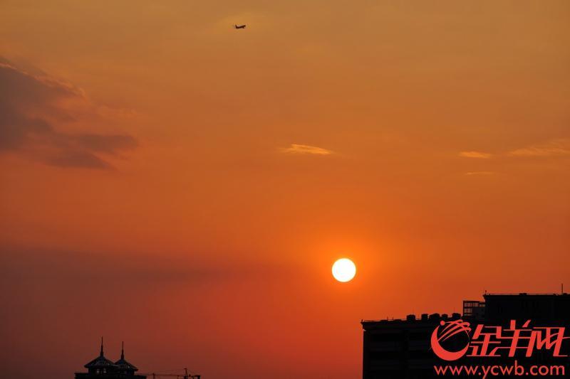国庆节当日,广州秋高气爽,傍晚更是出现靓丽晚霞,美不胜收。记者 陈秋明 摄