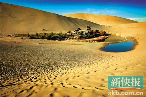 甘肃鸣沙山 日出前的沙漠驼队,像一个个跳动的音符.图片