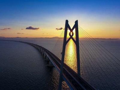 """《""""龙腾港珠澳""""网上摄影展》之《美桥》系列——青州航道桥""""中国结"""""""
