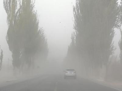 受冷空气影响 新疆天山南北出现降雪沙尘天气