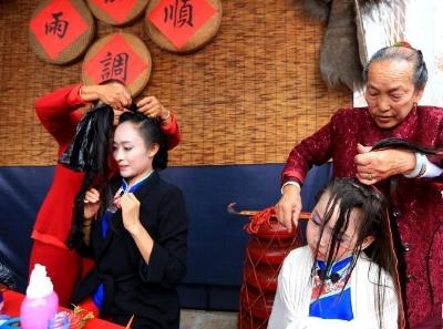 妈祖故里湄洲岛举办湄洲女发髻技艺表演赛