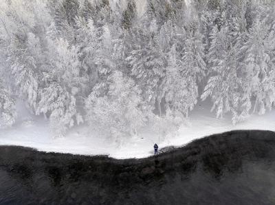 """俄罗斯北方森林被冰封 民众雪中垂钓如置身""""冰雪王国"""""""
