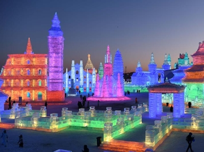 第二十届哈尔滨冰雪大世界开园迎客