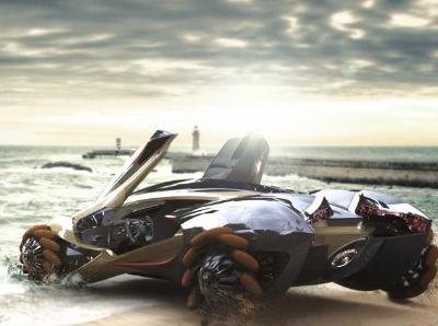 新款两栖概念车设计图亮相 外型科幻炫酷