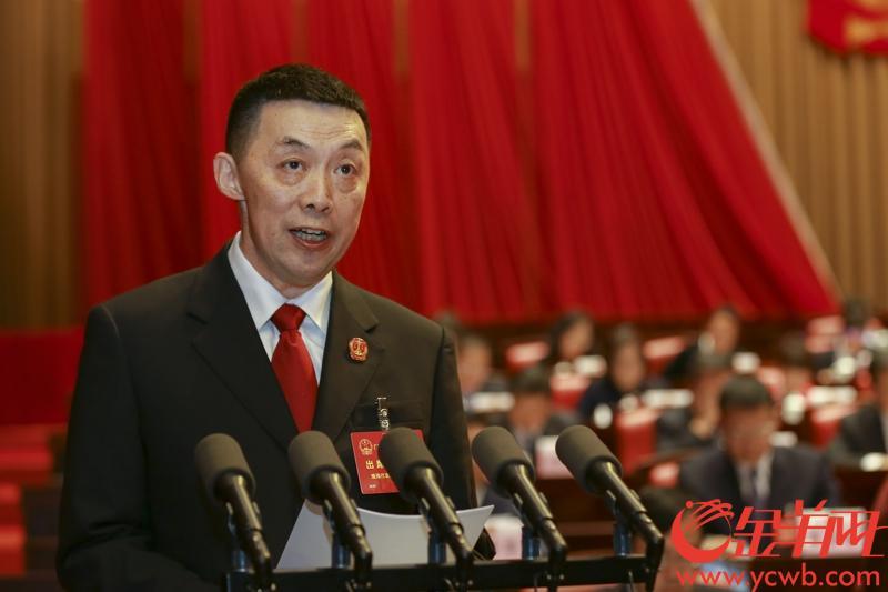 2019年1月30日,广东省高级人民法院院长龚稼立在省人代会上作法院工作报告。  金羊网记者 宋金峪 摄