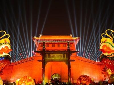 西安夜景璀璨庆佳节