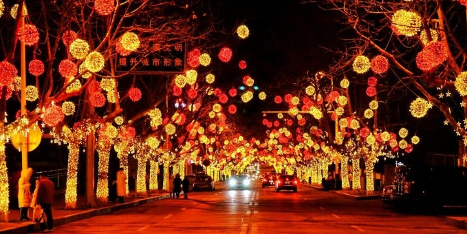 青岛西海岸春节灯光秀美轮美奂