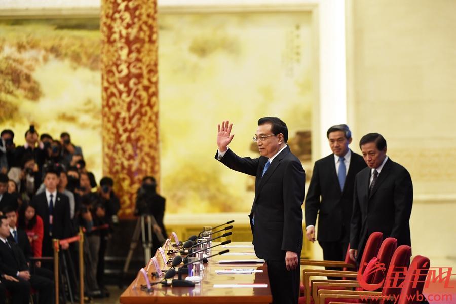 全国两会总理记者招待会,李克强总理答中外记者问。金羊网记者特派北京记者 宋金峪 摄