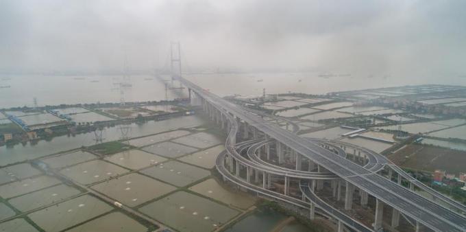 航拍即将通车的虎门二桥景观