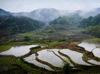航拍江西广昌赤水梯田 鸟瞰传统农耕之美