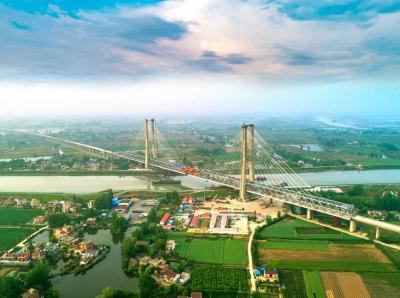 世界最大跨度無砟軌道高速鐵路橋梁—— 商合杭鐵路裕溪河特大橋順利合龍