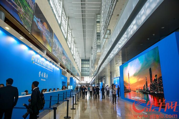 2019年5月15日,亚洲文明对话大会在北京国家会议中心举行开幕式。图为广州城市形象在新闻中心展示。 沙龙国际网站记者 宋金峪 摄