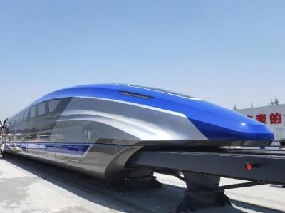 中國時速600公裏高速磁浮試驗樣車在青島下線