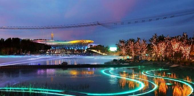 北京世园会 华灯初上夜景美如画