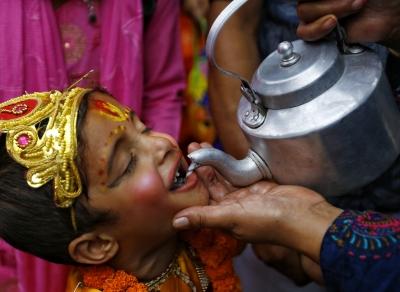 尼泊爾慶祝神牛節