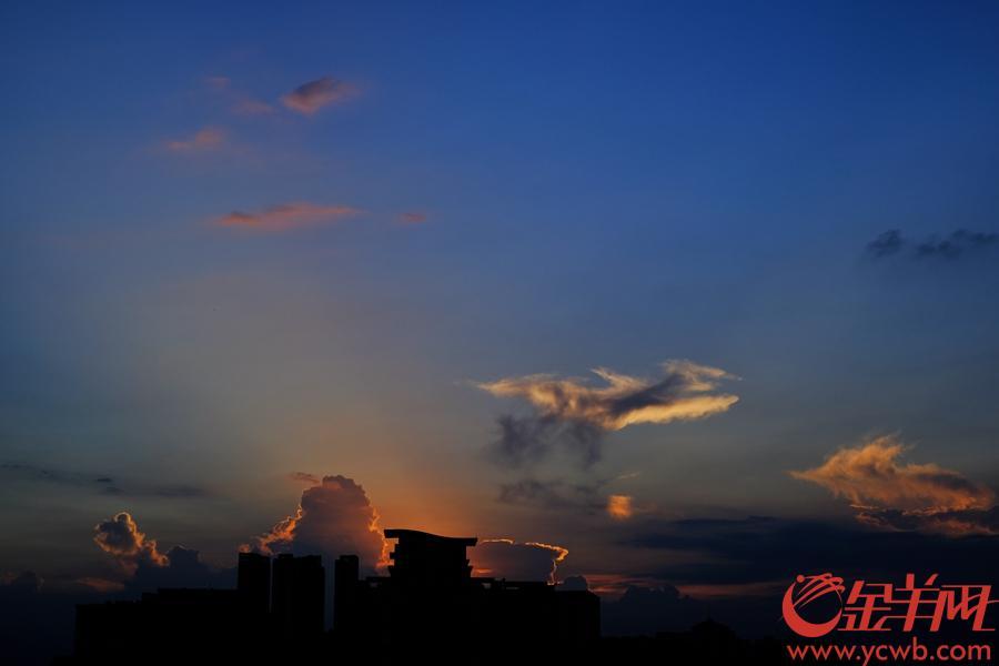 台风白鹿过后,今天(8月27日)羊城晴空万里,傍晚的晚霞更是让街坊惊艳。文/图 金羊网记者 陈秋明