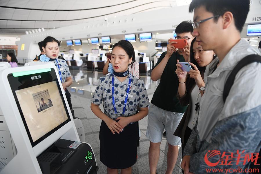 2019年9月4日,北京大兴机场,脸部识别演示 金羊网记者 林桂炎 摄