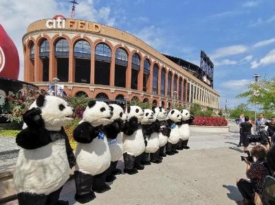 人偶大熊貓亮相紐約花旗球場