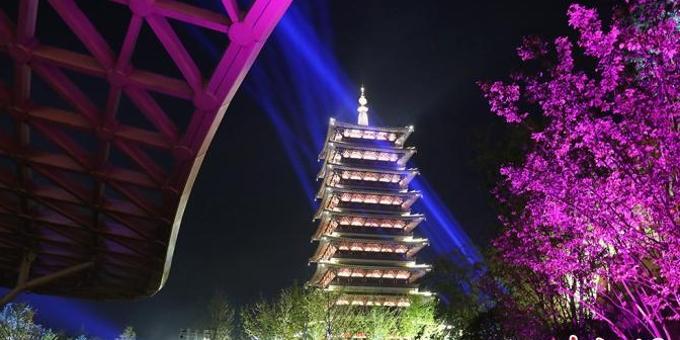 """南京牛首山灯光璀璨""""点亮""""文化艺术节"""