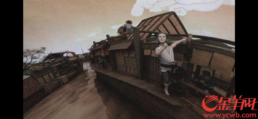 """""""汴河碼頭""""球幕影院的180°影片採用一鏡到底的技術,描繪汴河從白天到傍晚的生動景象,將原作畫面還原成視覺上可移動的立體空間。參觀者置身其中,彷佛正行駛在《清明上河圖》的汴河上,觀賞""""兩岸風煙天下無""""的人文盛景。金羊網記者 宋金峪 攝"""