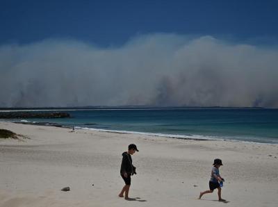 """澳丛林大火致数千人撤离 浓烟在海面筑起""""高墙"""""""