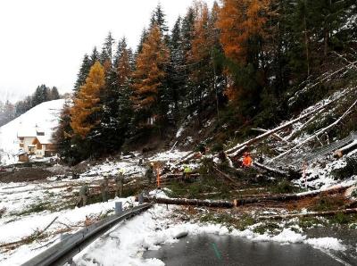 奥地利一村庄遭遇泥石流 救援人员紧急疏通道路