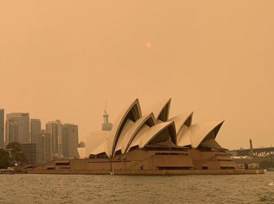 澳大利亚悉尼遭野火包围 天空变成黄色