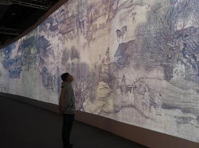 浙江绍兴展出《清明上河图3.0》 活化图景引人参观