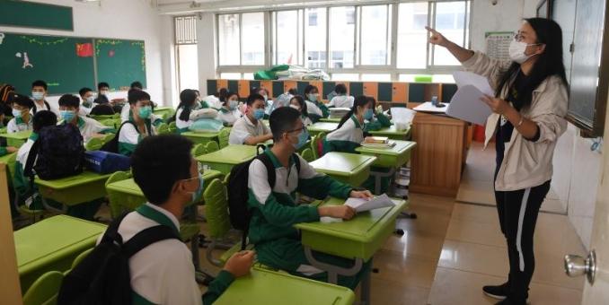 广州初三学生返校后分班上课