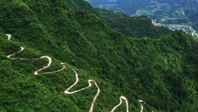 重慶黔江:扶貧産業路繞懸崖 41道拐成景觀