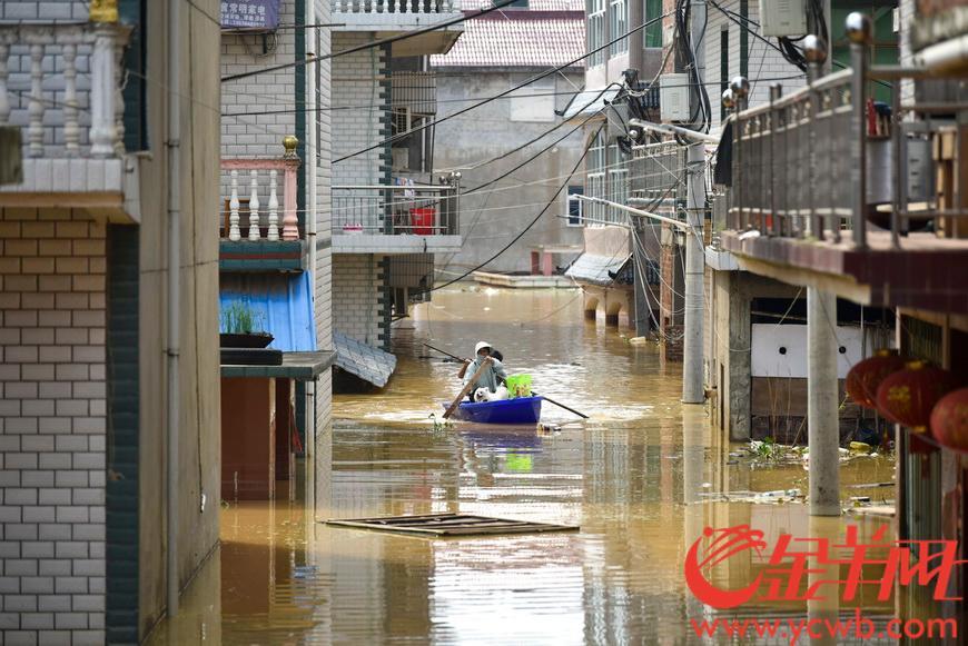 2020年7月13日,江西省上饶市鄱阳县鄱阳镇邓家村依然是一片泽国,少数村民撑小船到自家房屋内拿取还没有被水浸的生活物品。羊城晚报全媒体记者 宋金峪 摄