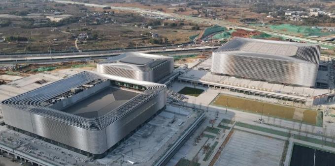 四川成都:多处大运会场馆建设进入收尾冲刺阶段
