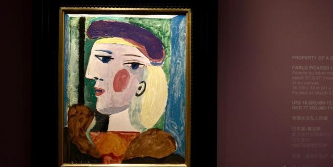 毕加索名作《戴淡紫色贝雷帽的女子》亮相香港