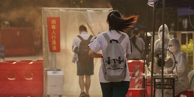直击广州荔湾高风险区金道中学考点