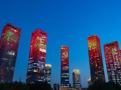 """北京高层建筑亮灯迎""""七一"""""""