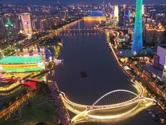 广州首座跨珠江人行桥即将竣工通行