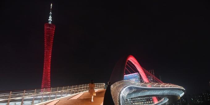 海心桥开通亮灯仪式