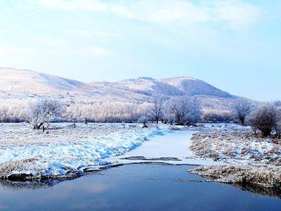 中俄边境小城额尔古纳市迎来今年首场雾凇景观